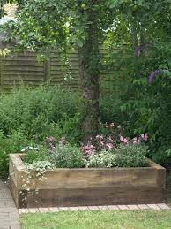 mixed flowers and ivy in a raised planter bed pop against a