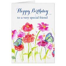happy birthday special friend blue butterflies card zazzle com
