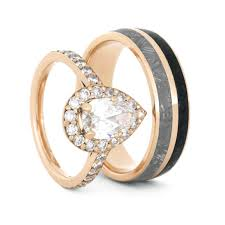 Gold Wedding Ring Sets by Rose Gold Meteorite Ring Set With Morganite Matching Wedding Rings