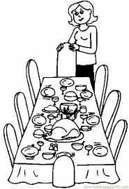 printable coloring page dinner table holidays thanksgiving day
