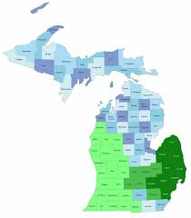 Map Of The State Of Michigan by Data Coverage
