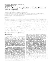 factors influencing conception rate of local and crossbred cows in