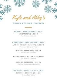 Wedding Itinerary White With Blue Snowflakes Header Wedding Itinerary Planner