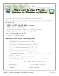 weather vs whether vs wether worksheet easily confused words