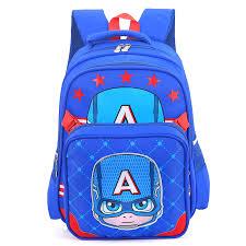 design captain america cartoon kids book bag waterproof
