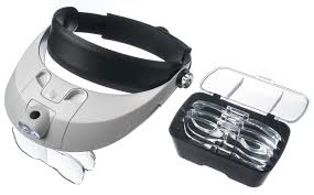 small magnifier with light hands free head headband helmet magnifier glasses loupe head