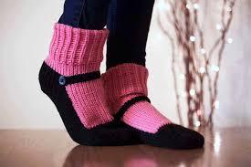 knit slipper sock adult mary jane slippers sox raspberry pink zoom