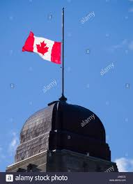 Picture Of Nova Scotia Flag Canadian National Flag At Half Mast Atop Spire Of Dominion Public