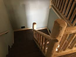 Looking Down Stairs by Recently Built Chalet Cottage Home All American Dream Homes