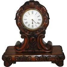 Mantel Clocks Antique English Carved Mahogany Fusee Movement Mantel Clock