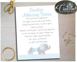 envelope addressing station baby shower sign with elephant