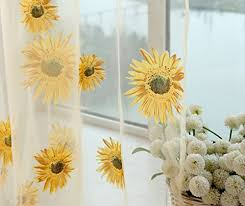 Sunflower Yellow Curtains Floral Embroidered Sheer Window Curtains Panel Drape For