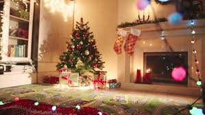 decorated living room on christmas night stock footage video