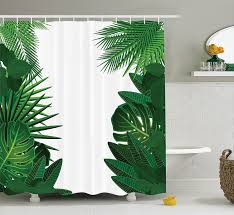 Hawaiian Print Shower Curtains by Amazon Com Leaves Decor Shower Curtain Set By Ambesonne Exotic