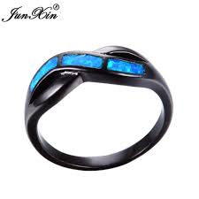 black opal mens ring junxin blue fire opal ring male female infinity ring black gold