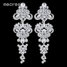 earrings for prom mecresh gorgeous chandelier wedding earrings for women silver