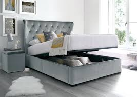 ebay ottoman with mattress single sale winged velvet grey open