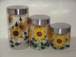 sunflower canisters for kitchen new 3pc sunflower canister set glass kitchen canisters