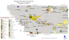 California Maps Census Places And Cities In Kern County California Map