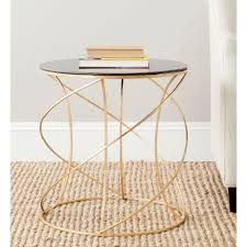 Glass Accent Table Table Astounding Safavieh Cagney Gold And Black Glass Top End