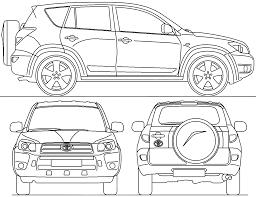 2006 toyota rav4 iii suv blueprints free outlines