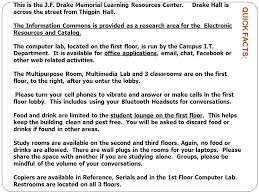 welcome to the j f drake memorial learning resources center ppt
