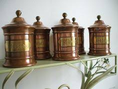 copper kitchen canister sets vintage copper and brass canister set by deerstopvintagehome
