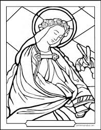 saint coloring page saint coloring page lilies and garland