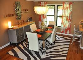 White Leather Dining Room Set Dining Room Orange Floral Fabric Curtain With White Leather