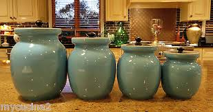 italian canisters kitchen set of 4 turquoise blue italian ceramic kitchen canisters c 1950