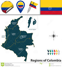 Map Of Colombia Map Of Colombia With Natural Regions Stock Vector Illustration
