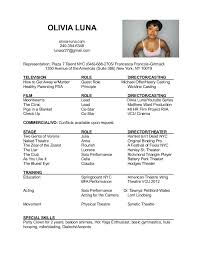 Sample Talent Resume by Theatre Resume Theater Resume Sample Jp Morgan Cover Letter
