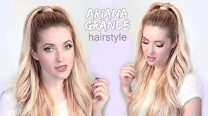 ariana grande hair tutorial half ponytail hairstyle with