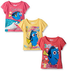 Cute Clothes For Babies Amazon Com Disney Girls U0027 3 Pack Finding Dory T Shirt Clothing