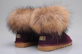 womens ugg boots purple fox fur mini boots 5854 purple