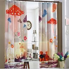 korea style cartoon mushroom design 3d kids window curtain for