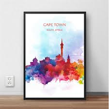 print poster cape town south africa world city abstract watercolor