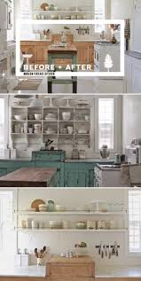 before and after shabby chic to modern vintage kitchen makeover