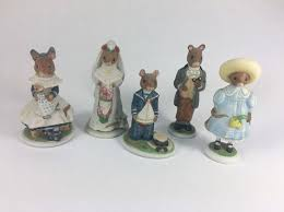 lot of 5 porcelain woodmouse family mouse mice figurines franklin