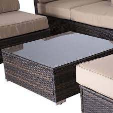 Aluminum Wicker Patio Furniture - outsunny 9pcs aluminum deluxe outdoor indoor rattan wicker patio