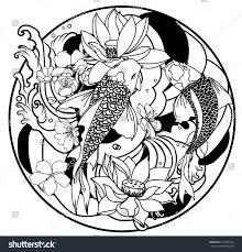 outline koi fish stock vector 615281033