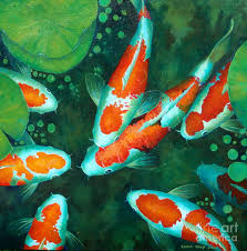 koi fishes painting auious koi pond 9 by edoen kang