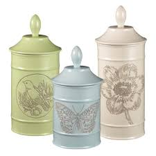 stoneware kitchen canisters grasslands road ambiance flower bird butterfly embossed stoneware