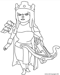 archer queen clash clans coloring pages printable