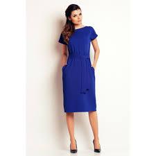 rochii casual rochie casual albastru cu cordon in talie si buzunare laterale