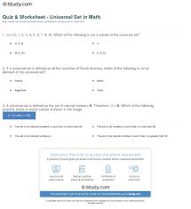 Images Of Math Worksheets Quiz U0026 Worksheet Universal Set In Math Study Com