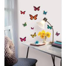home depot wall decor roommates butterfly 3 d wall decal acc0003b3d the home depot