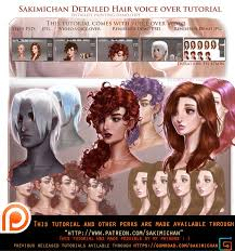 how to paint hair detailed over tutorial by sakimichan