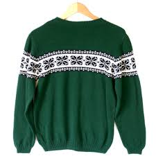 Ugly Green Green Nordic Snowflake Cotton Ski Ugly Sweater Kids The Ugly