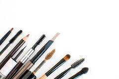 makeup artist tools brushes scissors and tools of makeup artist in black stock image